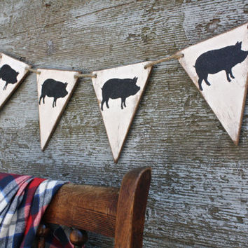 FREE SHIP Wood Pig Pork Roast Swine BBQ Banner Summer Pennant Tags Signs