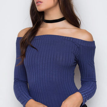 Cravings Ribbed Bodysuit - Blue