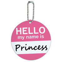 Princess Hello My Name Is Round ID Card Luggage Tag