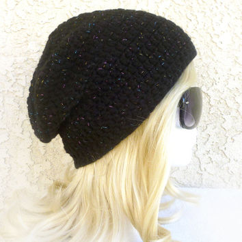 Black Sparkly Beanie Slouchy Beanie Magic rainbow sparkles Crochet Slouch Hat Baggy hat Girls beanie Womens Teen back to school accessories