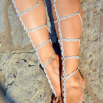 Silver Barefoot Gladiator Sandals Crochet Sandals,Legwear, Sexy Foot wrap, Toe Ring, Yoga, Leg Wrap, Nude Shoes, Lace Sandles