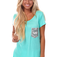 Mint Tee with Silver Sequin Pocket Detail