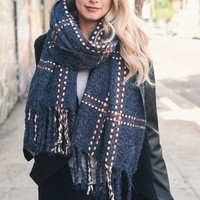 For The Love Blanket Scarf, Navy