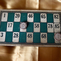 Vintage Lotto Game Card and Two Markers by ScrappyDoodads on Etsy