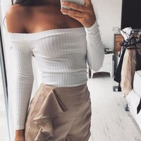 Fashion Solid Color Strapless Long Sleeve Shirt Top Tee