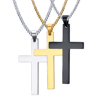 Shop mens gold necklace pendants on wanelo necklace mens fashion cross necklaces pendant for men fine stainless steel jewelry 3 color black gold mozeypictures Image collections