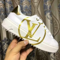 LV Women Shoes Louis Vuitton  Sports Shoes Coffee Print B-ALS-XZ Gold