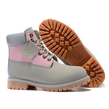 Timberland Rhubarb boots for men and women shoes waterproof Martin boots lovers Grey pink