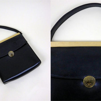 Vintage 1960s Navy Leather Purse // Metal Details // Lined // Zippered Pocket // Latch Closure