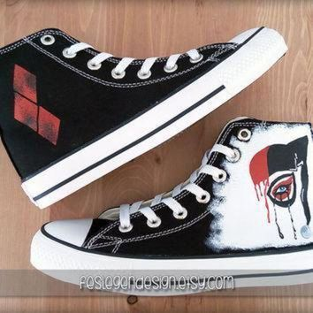 LMFON harley quinn custom converse painted shoes