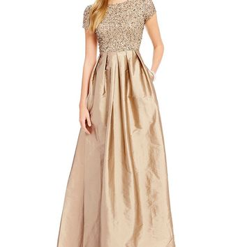 Adrianna Papell Beaded Bodice Cap Sleeve Gown | Dillards