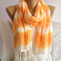 Orange Striped  Scarf - Long Scarf Wrap - Bohemian Lace Scarf Shawl
