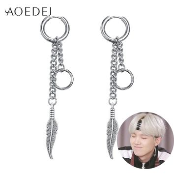 AOEDEJ BTS Suga Earrings Long Tassel Hoop Earrings 2018 Fashion Feather Bangtan Boy Jewelry Men Women Korean Earrings Alloy