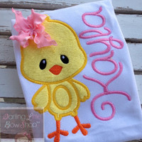 Easter Shirt or Bodysuit for girls -- One Sweet Chick -- Easter Chick bodysuit or shirt -- yellow, pink and personalized