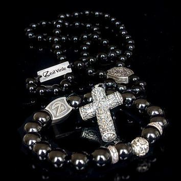 Beaded bracelet and necklace set, Beaded pendant, cross, sterling silver, beaded bracelet, onyx, perfect gift