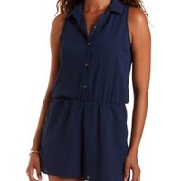 Navy Sleeveless Chiffon Button-Up Romper by Charlotte Russe