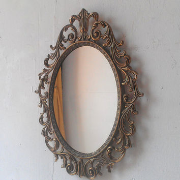 Princess Wall Mirror in Vintage 13 by 10 Inch Brass Patina Oval Frame