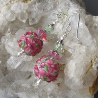 """My Secret Garden"" Lampwork Art Glass Artisan Earrings, ""Raspberry Margaritas"" #116"