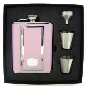 Visol SP Pink Leather Hip Flask with Built-In Cigarette Case Deluxe