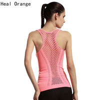 Heal Orange Free Size Women Running Vest Hollow Yoga Shirts Sleeveless Dry Quick Sport Tank Tops Gym Fitness Shirt Elastic Top