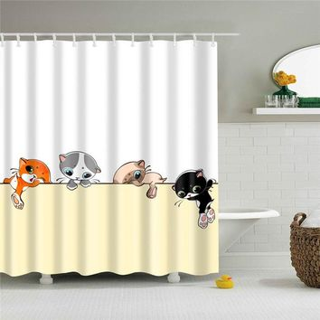Kitty Cats Design Polyester Bathroom Shower Curtain & Hooks