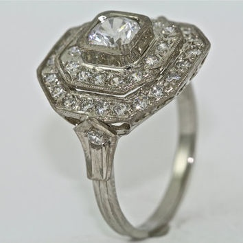 14kt White Gold and Diamond Art Deco Design Engagement Ring with .50ct White Sapphire Center
