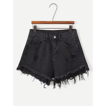 Frayed Hem Denim Shorts.
