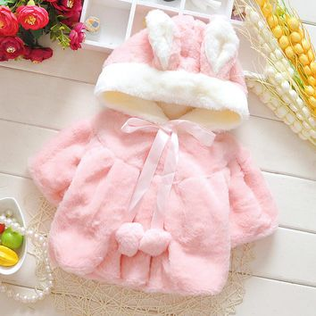 Autumn Winter Baby Girls Faux Fur PearlsImitation of rabbit hair Lapel Collar Infant Kids Outerwear Princess Jacket Coats