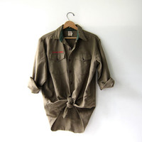 vintage 50s wool Boy Scouts shirt. Button down army green shirt. Boy Scouts Of American Official Shirt