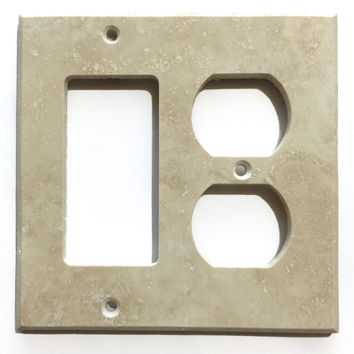 Ivory Travertine Rocker Duplex Switch Wall Plate / Switch Plate / Cover - Honed