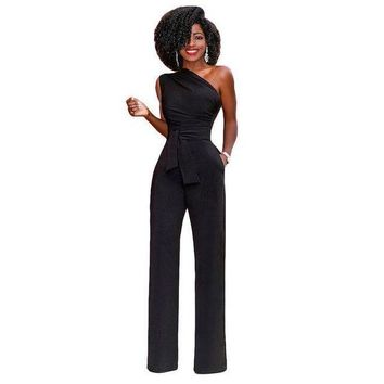 ONETOW jumpsuits for Womenelegant ol jumpsuit one shoulder sleeveless long overal rompers with sashes plus size