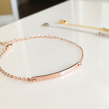 Personalized Rose Gold Jewelry gift Rose Gold Bracelet Personalized bracelet sister gift Bar Bracelet