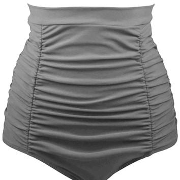 Gray Retro High Waisted Swim Short
