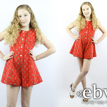 Kid's Vintage 70s Red Floral Romper Kids Romper Girls Romper Kids Vintage Romper Children's Vintage Girls Vintage Romper