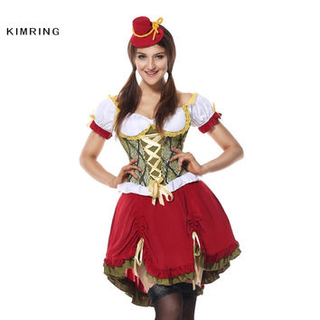 KIMRING GERMAN WENCH HALLOWEEN COSTUME PEASANT MAID DRESS COSPLAY BEER GIRL OKTOBERFEST COSTUME FANCY DRESS ADULT COSTUME DRESS