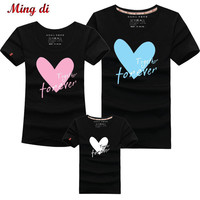 Family Matching Clothing Love Mother and Daughter Clothes Family Look T-shirt Mother Son Outfits Cotton Letter Dad Son Clothes