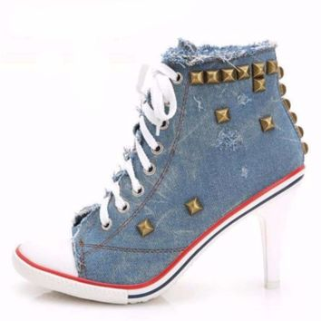 Fashion Denim Rivets Women High Heel Shoes