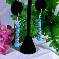 Simulated Blue-Turquoise and Antique Silver-plated Dangle Earrings