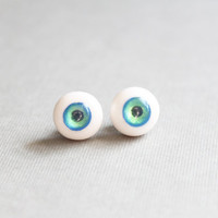 $24.00 Cornflower Blue and Pear Green Eyeball Stud by orchidandreptile