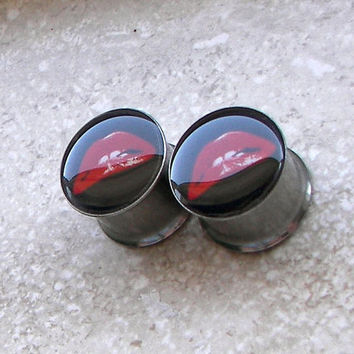 "Rocky Horror Picture Show Plugs - One PAIR - Sizes 2g, 0g, 00g, 7/16"", 1/2"", 9/16"", 5/8"", 3/4"", 7/8"", 1"" - Made To Order"