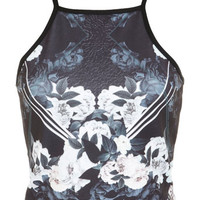 Dark Floral 90's Crop Top - Lone Star - Clothing