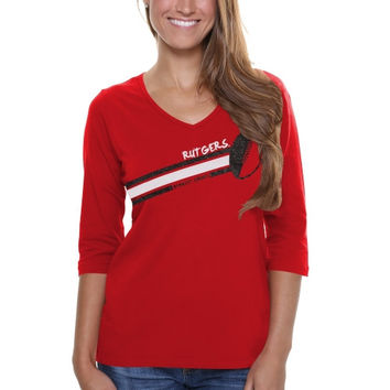 Rutgers Scarlet Knights Ladies Football Glitter Half Sleeve V-Neck T-Shirt - Scarlet