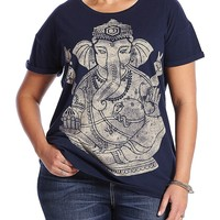 Lucky Brand Elephant Ganesh Tee Womens - American Navy