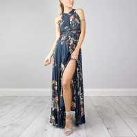 Sexy Floral Flower Bohemia Beach Tie Bow Chest Hollow Swing Dress