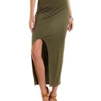 Curved Slit Maxi Skirt by Charlotte Russe - Green