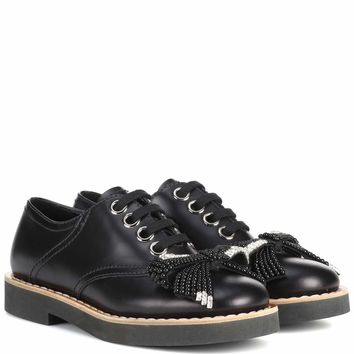 Embellished leather Derby shoes