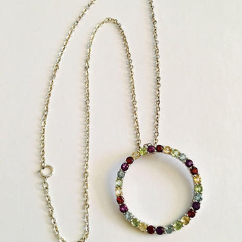 Sterling Silver 18 Inch Chain Necklace with Multi-colored Crystal CZ's set in Sterling  Eternity Circle, Karma  or  Friendship Necklace