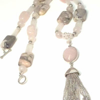 Gemstone Tassel Necklace - Pink Rose Quartz