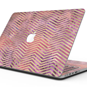 Gold Chevron Over Abstract Fumes - MacBook Pro with Retina Display Full-Coverage Skin Kit