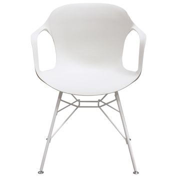 Drake 2-Pack Indoor/Outdoor Accent Chairs in White Polypropylene (PP) w/ White Painted Metal Leg